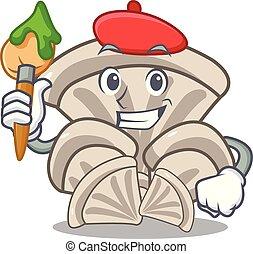 Artist oyster mushroom character cartoon