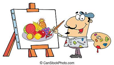 Artist Painter - Man Painting A Still Life Of Fruit On...