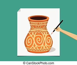 Artist painting ancient pottery on paper, vector design