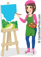 Beautiful artist woman painting green park on canvas