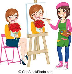 Beautiful artist woman painting portrait of happy woman holding flower bouquet on canvas