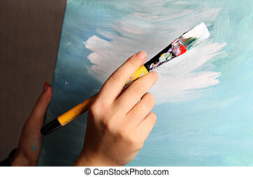 Artist paints a picture - Artist?s hand holding a paintbrush...