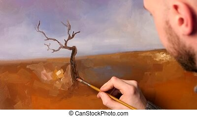 Artist paints a picture of oil paint brush with palette in his hand,