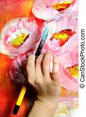 Artist paints a picture