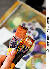 Artist paints still life in cubistic