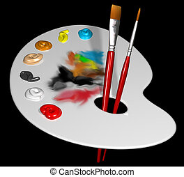 Artist palette - Illustration of an artist palette and...