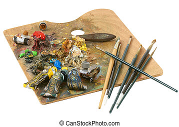 Artist palette - Working with an artist's palette paints...