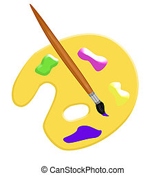 Artist Palette with Painting Brush illustration.