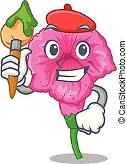 Artist petunia flowers on cartoon home page vector illustration