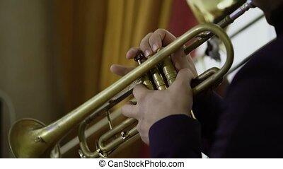 Artist playing trumpet on concert shot