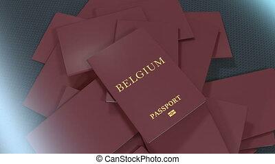 Artist rendering Belgium travel passport.