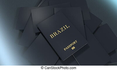 Artist rendering Brazil travel passport.