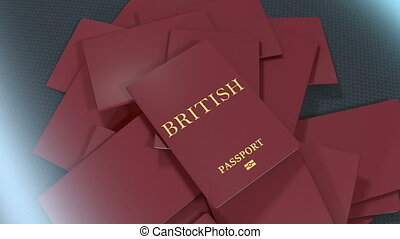 Artist rendering British travel passport.