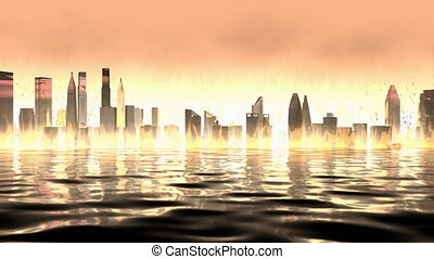 """""""Computer generated, Artist rendering, burning city view background."""""""