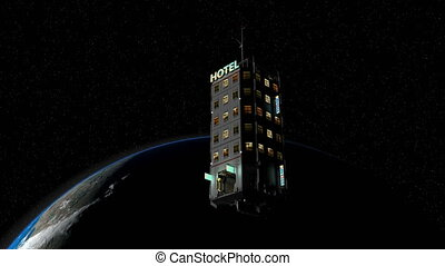 Artist rendering fiction space hotel technology