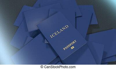 Artist rendering Iceland travel passport.