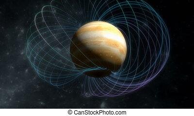 """Computer generated, Artist rendering, Jupiter magnetic field."""