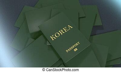 Artist rendering Korea travel passport.