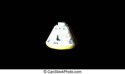 """Artist rendering, Space capsule, descend, manned, vacuum, rover, maneuver, heat shield."""