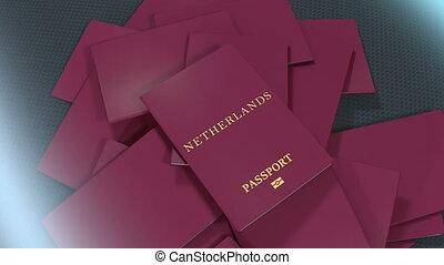 Artist rendering Netherlands travel passport.