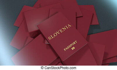 Artist rendering Slovenia travel passport.