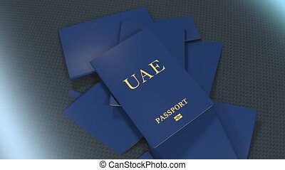 Artist rendering UAE travel passport.