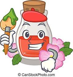 Artist rosehip seed oil in cartoon bottle