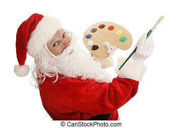 Artist Santa Paints - Santa with painting with a colorful...