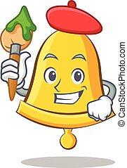 Artist school bell character cartoon