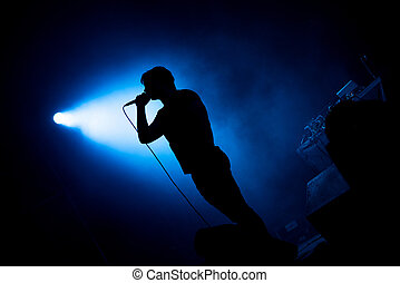 Artist singing in microphone in stage lights