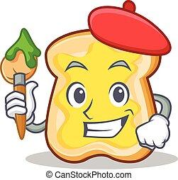 Artist slice bread cartoon character vector art illustration