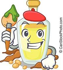 Artist soybean oil put in cartoon bottle
