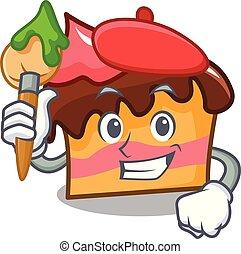 Artist sponge cake character cartoon vector illustration