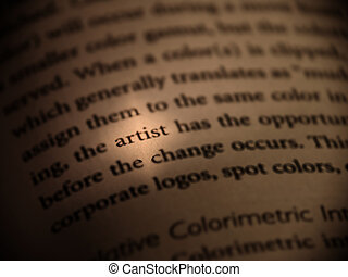 Artist - The word artist is highlighted within an open book