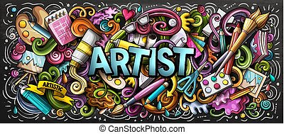 Artist supply color illustration. Visual arts doodles. Painting and drawing street art background. Color book cover. Graffiti handdrawn poster. Colorful vector cartoon banner with hand drawn doodle elements