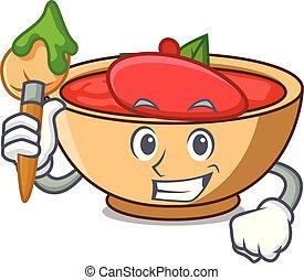 Artist tomato soup character cartoon