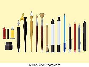 artist tools flat design