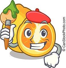 Artist ugli fruit above the cartoon table vector...