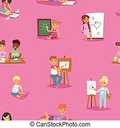 Artist vector kids children painting making art creative young artist with brushes and paint school kids set cartoon characters seamless pattern background