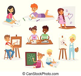 Artist vector kids children painting making art creative young artist with brushes and paint school kids set cartoon characters collection