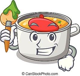 Boxing vegetable soup with pasta in pot cartoon vector ...   Cartoon Veggie Pasta