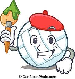 Artist volley ball character cartoon vector illustration