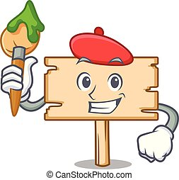 Artist wooden board character cartoon