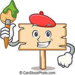Artist wooden board character cartoon