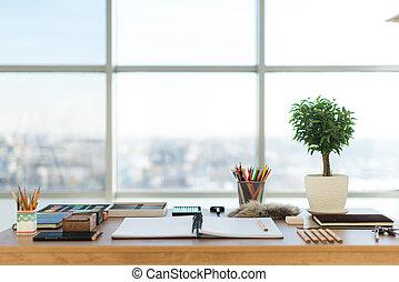 artist, workplace, klar, för, pastell, drawing., färgrik,...