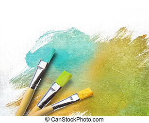 artista, acabado, mitad, cepillos, lona, pintado