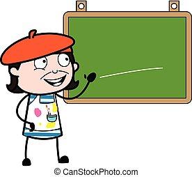 artista, caricatura, aula, tabla