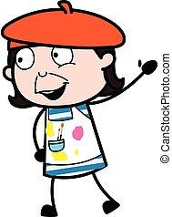 artista, caricatura, hola, refrán
