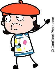 artista, caricatura, mano levantada