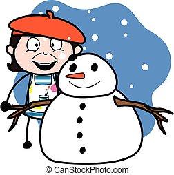 artista, caricatura, snowman
